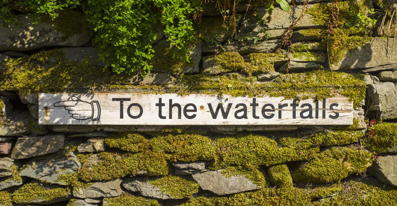 Ghyll Waterfall Sign
